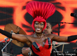 "Grace Jones Hoops It Up to ""Slave to the Rhythm"""