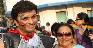 Iyer and his mom Padma at a gay pride event